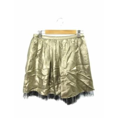 【中古】未使用品 アウラアイラ AULA AILA スカート ギャザー ミニ ジップアップ 1 金色 ゴールド /YT21 レディース