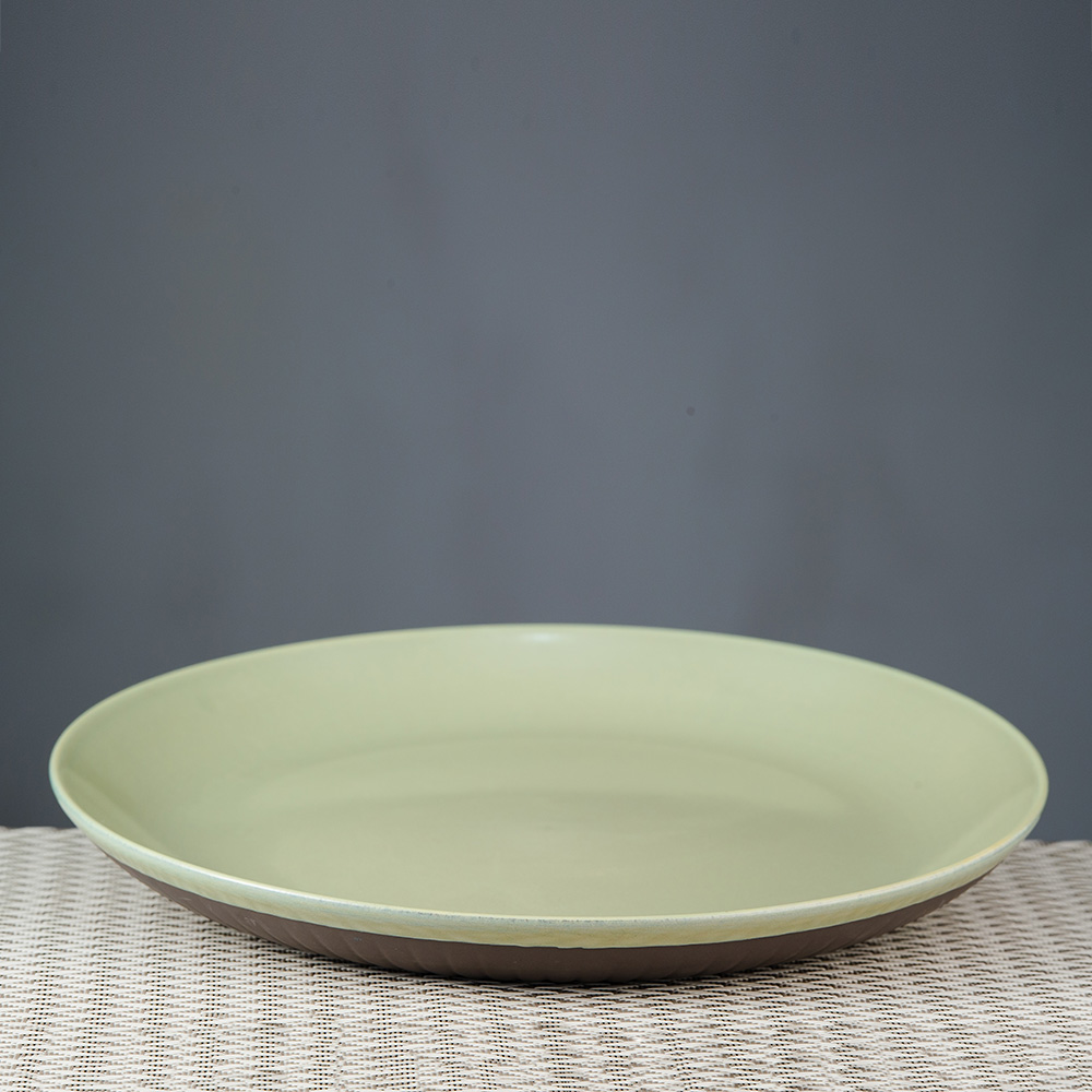 直紋綠意瓷泥餐盤26cm