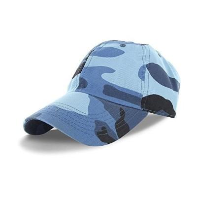 DS プレーン コットン100% 調節可能な野球帽 - ブルー迷彩