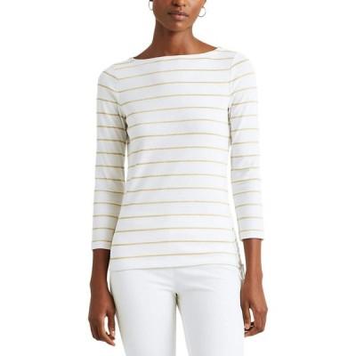 ラルフ ローレン LAUREN Ralph Lauren レディース Tシャツ トップス Metallic Striped Cotton Boatneck Top White/Gold Metal