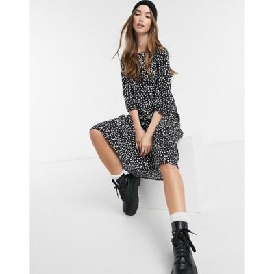 ニュールック レディース ワンピース トップス New Look tiered smock midi dress in black floral