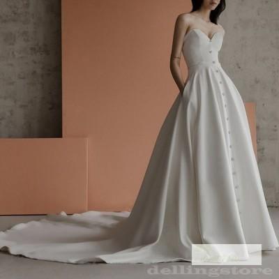 ウェディングドレス 結婚式 披露宴 二次会 前撮り フォト パーティードレス ビスチェ ウエディングドレス 韓国風 安い 高級感 宮廷ドレス フォーマルドレス