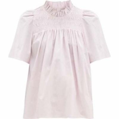 シー Sea レディース トップス Marlene shirred-yoke cotton-blend poplin top Pink
