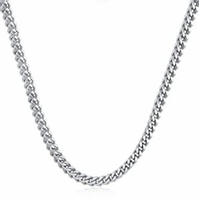 """LuxglitterLin Miami Cuban Link Chain Necklace for Men Women 4mm to 6mm Wide 18""""-30"""" long Curb Chain Stainless Steel Hip Hop Jewe"""