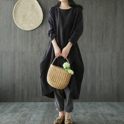 秋新作 体型カバー ワンピース 可愛い ミディアム丈 おしゃれ ゆったり 長袖 大きいサイズ 20代 30代 40代