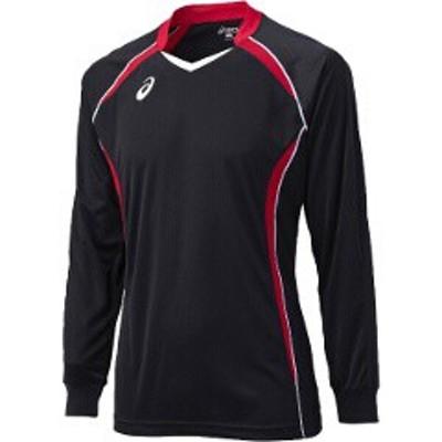 アシックス ASICS バレーボール用 ゲームシャツLS XW1320 [カラー:ブラック×Vレッド] [サイズ:150] #XW1320