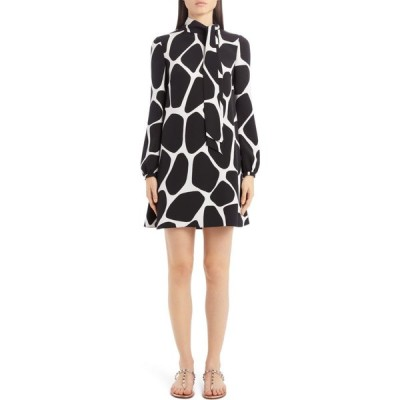 ヴァレンティノ VALENTINO レディース ワンピース ワンピース・ドレス Giraffe Print Long Sleeve Silk Minidress Avorio/Nero