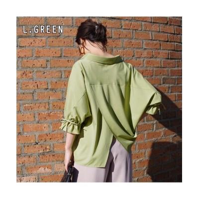 (anlulu/アンルル)バックレイヤードリボンスリーブシャツ mitis/レディース ライトグリーン