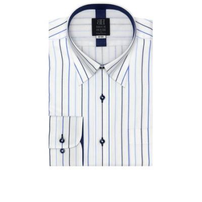 ワイシャツ 長袖 形態安定 メッシュインナー スナップダウン 白×ブルーストライプ 標準体