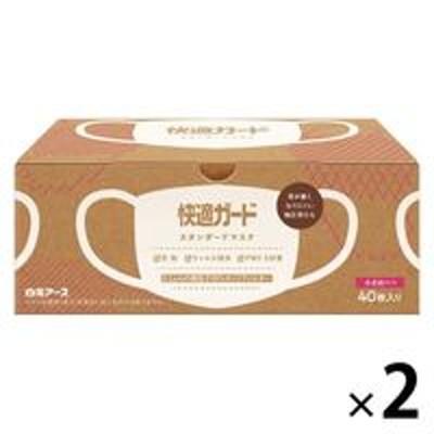 白元アース快適ガード スタンダードマスク 小さめサイズ 1セット(40枚入×2箱) 白元アース