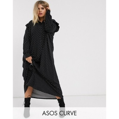 エイソス レディース ワンピース トップス ASOS DESIGN Curve long sleeve mono spot shirt maxi dress