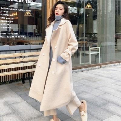 コートレディースウールコートトレンチコート上品ロングコートウール混韓国風ゆったり2色カジュアルきれいめ秋冬コート