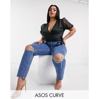 エイソス ASOS Curve レディース ジーンズ・デニム ASOS DESIGN Curve Recycled Farleigh high waist slim mom jeans in dark wash with busted knees