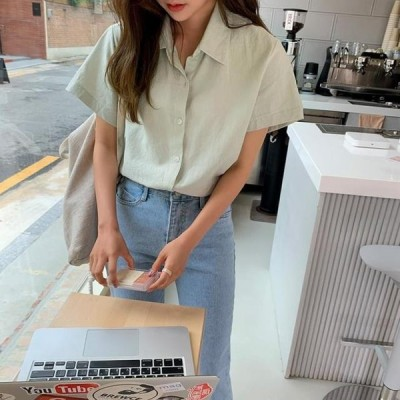 ENVYLOOK レディース ブラウス rose linen shirt
