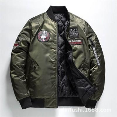 ミリタリージャケット メンズ リバーシブルジャケット MA-1フライトジャケット ミリタリーワッペン 軍物エンブレム MA1  アメリカン カッ