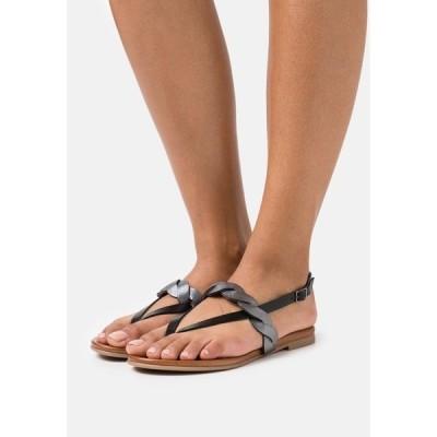 アンナフィールド サンダル レディース シューズ LEATHER - T-bar sandals - black