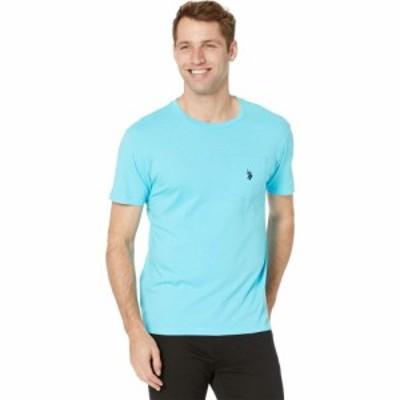 ユーエスポロアッスン U.S. POLO ASSN. メンズ Tシャツ ポケット トップス Solid Crew Neck Pocket T-Shirt Horizon Blue