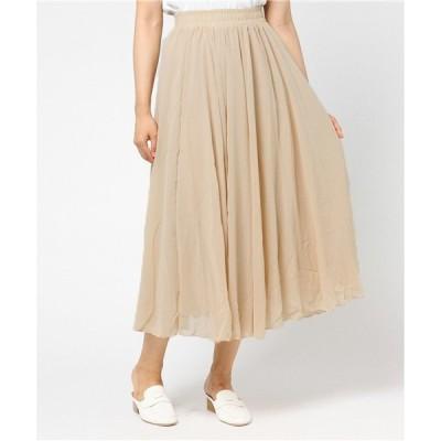 スカート 3層シフォンフレアマキシスカート