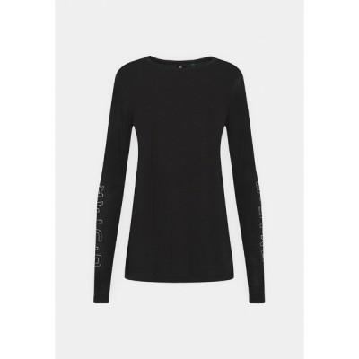 ジースター カットソー レディース トップス SHEER GRAPHIC SLIM FIT - Long sleeved top - black