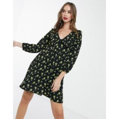 エイソス レディース ワンピース トップス ASOS DESIGN mini smock dress with collar in black and yellow floral Black/yellow floral