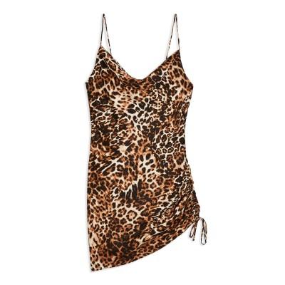 トップショップ TOPSHOP ミニワンピース&ドレス ブラウン 10 ポリエステル 94% / ポリウレタン 6% ミニワンピース&ドレス