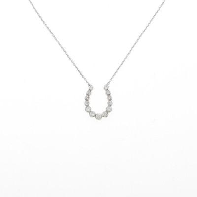 K18WG ホースシュー ダイヤモンドネックレス
