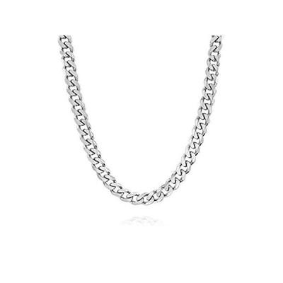 送料無料!Verona Jewelers イタリア製925ソリッドスターリングシルバー メンズネックレス 7.5mm 8mm 11mm 15mm カーブキューバ