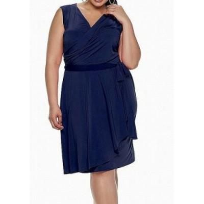 London Times ロンドンタイムズ ファッション ドレス London Times NEW Blue Womens Size 3X Plus Faux Wrap Sheath Dress
