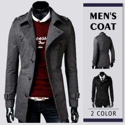 メンズ トレンチコート メルトン ウール ロングコート トレンチコート チェスターコート 2色 通勤 紳士 あったか