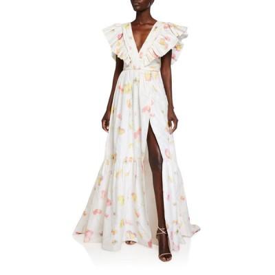 モニークルイリエ レディース ワンピース トップス Fluttered Cap-Sleeve Ruffled Gown