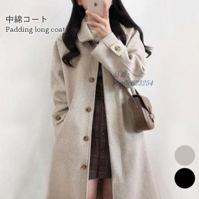 送料無料 中綿キルティングコート レディース ロングコート あったか ロング丈 ポケット付き厚手 暖かい 中綿キルティング チェスターコート