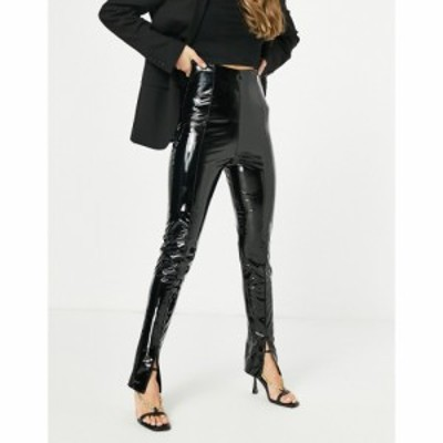 フラウンスロンドン Flounce London レディース ボトムス・パンツ high waist tailored vinyl trouser with split front in black ブラッ