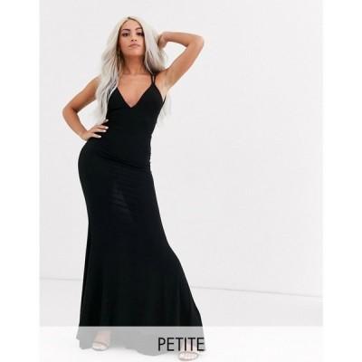 クラブ エル Club L London Petite レディース ワンピース マキシ丈 ワンピース・ドレス plunge front strappy back maxi dress in black ブラック