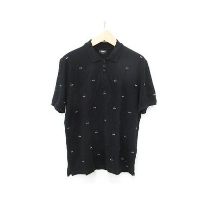 【中古】フェンディ FENDI ポロシャツ 半袖 鹿の子 モンスター 刺繍 国内正規品 コットン 黒 ブラック 白 58 メンズ 【ベクトル 古着】