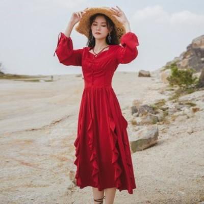 ロングワンピース レディース パフスリーブ フレアフリル リゾート 着痩せ お出かけ ビーチ 旅行 きれいめ 姫系ドレス パーティー