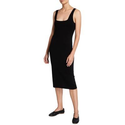ヴィンス レディース ワンピース トップス Square-Neck Sleeveless Wool-Blend Midi Dress