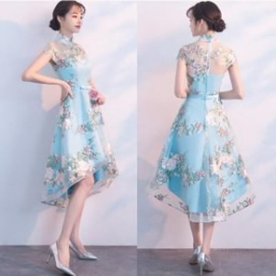 結婚式 ドレス パーティードレス お呼ばれ ワンピース 二次会 ドレス ノースリーブ 花柄 フィッシュテール 大きいサイズ