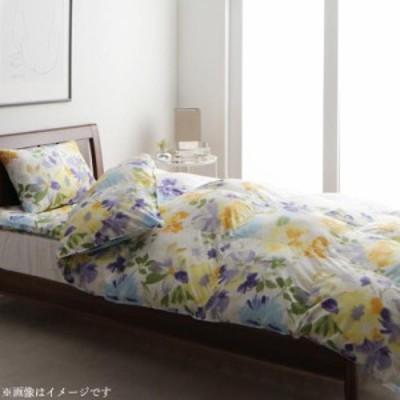 洗える寝具セット エレガントフラワーデザイン〔Fiona〕掛け布団のみ単品販売 シングル バイオレットブルー