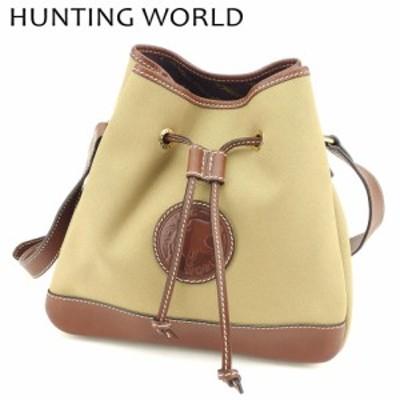ハンティングワールド ショルダーバッグ 巾着ショルダー エレファントマーク ブラウン ベージュ HUNTING WORLD 中古 B997