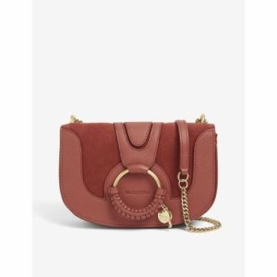 クロエ SEE BY CHLOE レディース ショルダーバッグ レザー スエード バッグ Hannah Medium Leather And Suede Saddle Bag Fawn Brown