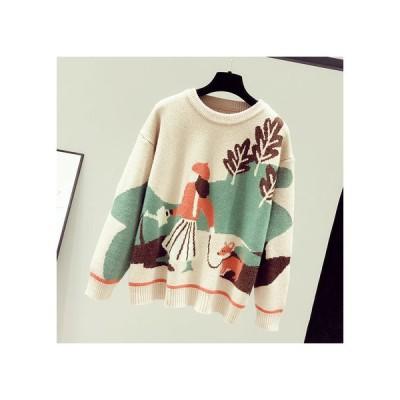 新作 ニットセーター レディースセーター 丸首のセーター ニットウェア 春秋冬日常用 通勤 頭からかぶるセーター 着痩せ長袖 ワイルドカード