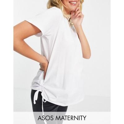エイソス ASOS Maternity レディース Tシャツ マタニティウェア トップス ASOS DESIGN Maternity ruched side oversized t-shirt in white ホワイト