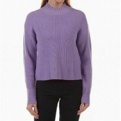 MELLODAY  ファッション トップス Melloday Womens Purple Size XL Ribbed Knit Turtleneck Mock Sweater