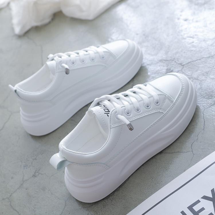 運動鞋小白鞋女2020新款秋冬季棉鞋百搭網紅板鞋厚底老爹鞋加絨運動白鞋 【古斯拉】