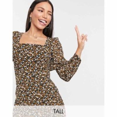 ファッションユニオン Fashion Union Tall レディース ワンピース ミニ丈 Mini Dress With Puff Sleeves In Ditsy Print ブラックフロー