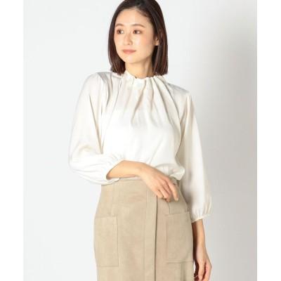 【ミューズ リファインド クローズ】 サテンギャザーネックブラウス レディース シロ M MEW'S REFINED CLOTHES