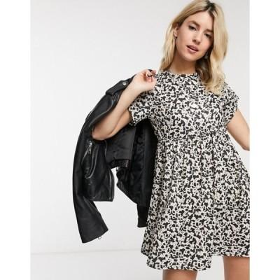 ロココ レディース ワンピース トップス Rokoko short sleeve mini smock dress in cow print