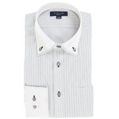形態安定抗菌防臭スリムフィット 2枚衿マイターボタンダウン長袖ビジネスドレスシャツ