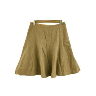 【中古】デミルクス ビームス Demi-Luxe BEAMS スカート フレア ミニ 無地 ウール 36 茶 ブラウン レディース 【ベクトル 古着】