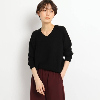 ジェット JET 【ウォッシャブル】シルク混Vネックニットプルオーバー (ブラック)